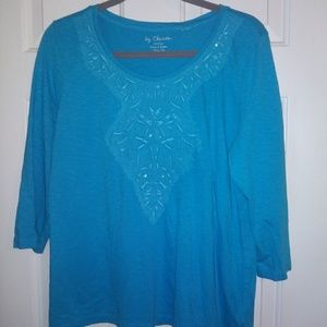 Chicos 3/4 sleeve top with embellishments size 2